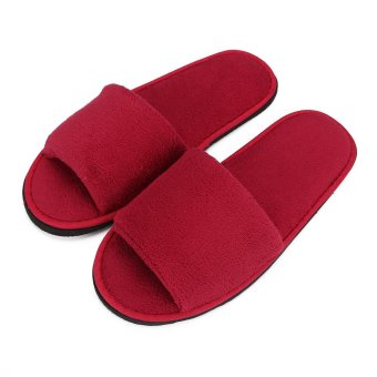 Men Women Coral Velvet Open Toe Hotel Home Spa Slippers Travel Shoes Thick 7mm Red - intl