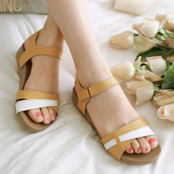 Sandals Genuine Leather Lady Beach Shoes Casual Summer Wedges Non-slip Woman Sandals (Yellow) - intl