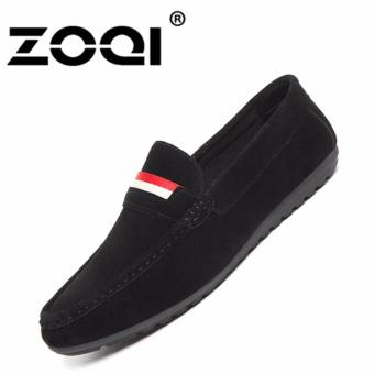 Harga ZOQI Men's fashion Slip-Ons Casual Shoes Loafers Flat Shoes (Black) - intl