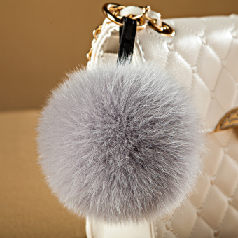 Ball pendant really cute plush fox fur ball car keychain bag pendant plush ball ornaments (Real hair ornaments--gray)