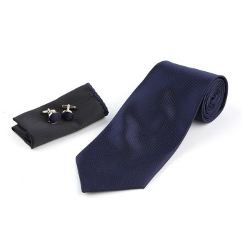 Harga Solid Series Tie Necktie Mens Tie Party Tie Hanky Cufflink Set Classic Dark Blue