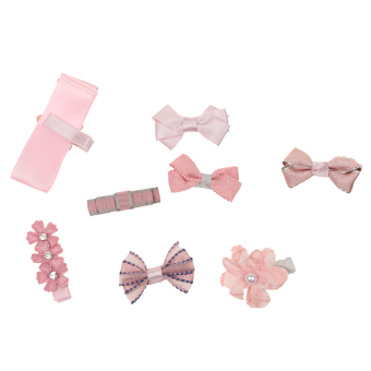 Harga Cute Kids Girls Pink Hair Bow Hair Clip Set with Ribbon Holder Storage - intl