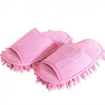 Harga 1 Pair High quality lazy couple home slipper chenille washable mopping slippers (pink)(Intl)