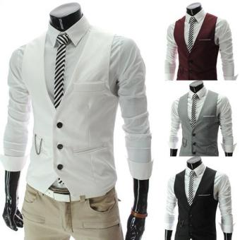 Harga 2016 New Arrival Dress Vests For Men Slim Fit Mens Suit Vest(White) - intl