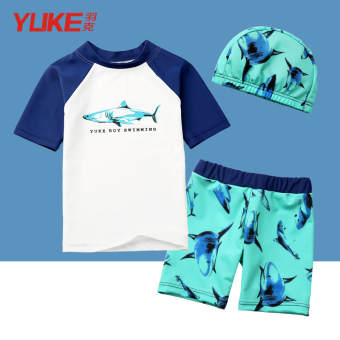 Children's swimsuit boy split swimsuit baby boxer quick-drying sunscreen small children baby swimsuit swimming cap suit (White shark)