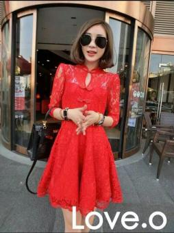 Harga Autumn Women Elegant Long Sleeve Retro Embroidery A-line Lace Dress V-neck Party Midi Swing Dress(red) - intl