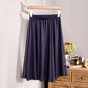 Harga Korean-style solid color chiffon summer skirts