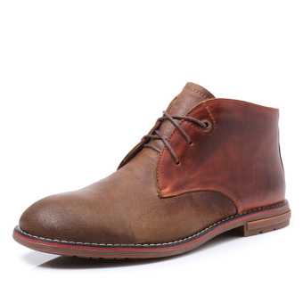 Harga Tauntte Winter Classic Chukkas Men Genuine Leather Ankle Boots Fashion Casual Keep Warm Martin Boots (Brown) - intl