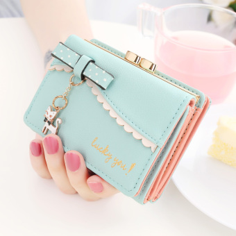 Harga New arrival women's japan and south korea new sweet kitten student mini small wallet female short paragraph wallet wallet wallet (Light blue)