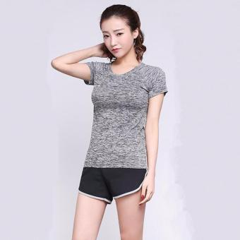 Harga Women's Dri-Fit Slim Sport Tees Top Short Sleeve Round Neck T-Shirt(grey) - intl