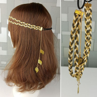 National Wind double woven hair band bohemian stretch headband metal tree leaf chain pendant hair accessories headdress