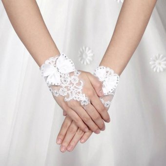 Bridal Short Gloves Wedding Rhinestone Beaded Lace Fingerless Gloves - intl
