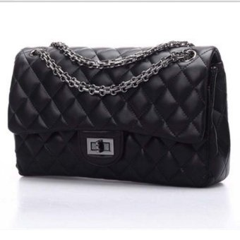 Harga Korea Designer Women Fashion Shoulder Clutches Flap Bag Quilting Chain Cross Ladies Handbag Black