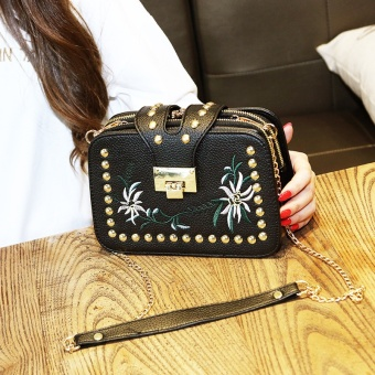 2017 New style handbag embroidery small square package wild rivet small bag Korean-style tide mini chain shoulder messenger bag (Black three layer)