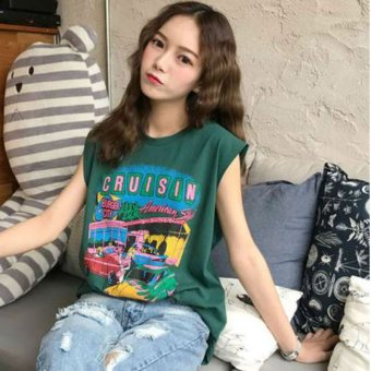 Summer new college wind sweet car waistcoat vest wild letters printed loose long t-shirt shirt female (Blackish green)