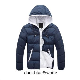 Harga dark blue white Men Down Jacket Splice 2017 NEW Arrived Autumn Winter Down Jacket Hooded Winter Jacket for Men Fashion Mens Joint Outerwear Coat Plus Size - intl