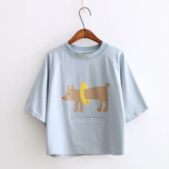 Summer art cartoon puppy collar letters printed loose cotton short sleeve t-shirt female thread embroidery t-shirts
