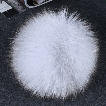 Import fox fur ball ornaments imported whole skin fox fur ball fashion bag pendant key chain mobile phone chain pendant (Gray fox fur ball)