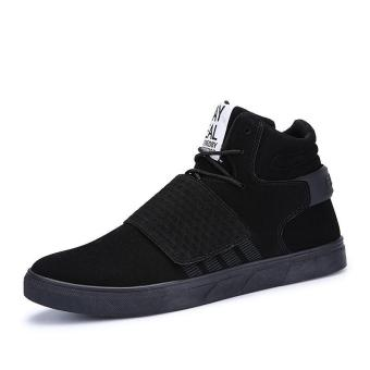 Harga SHOCK Men Fashion High-top Casual Sports Shoes Student Hook&loop Trend Shoes(Black) - intl