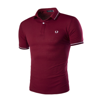 Harga Men's fashion casual short-sleeved T-shirt embroidered sport POLO shirt Korean version Wine red