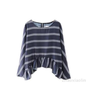 Harga European and American loose striped flounced shirt