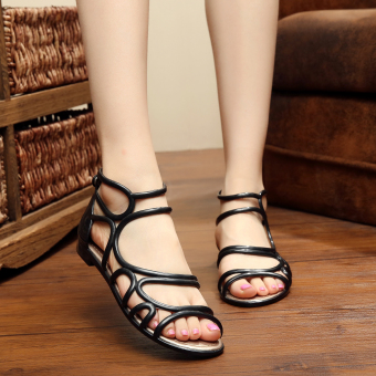 Harga In summer and autumn female plastic student casual european and american fashion sweet girls flat jelly plastic sandals slip (Black)