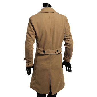 Fashion Men Double Breasted Trench Slim Stylish Long Coat (EXPORT)