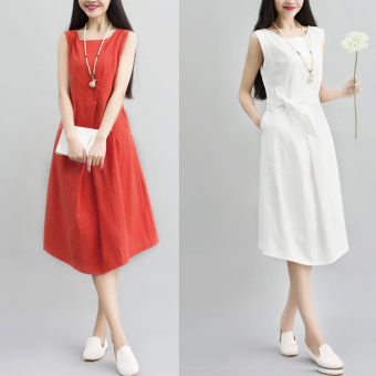 Harga Women's plus-size loose slimming waist-belt cotton linen sleeveless vest dress