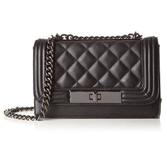 Harga ALDO Derogali faux leather quilted crossbody chain bag (black)