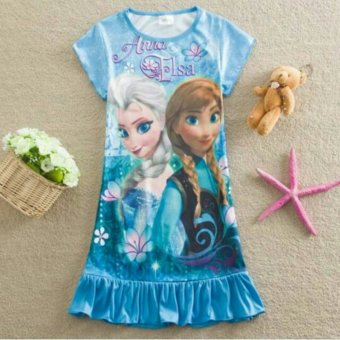 Harga Kids Frozen Elsa Anna Pyjamas Dress