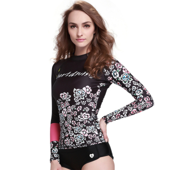 Harga Women's Rash Guard Diving Shirts Tee Skins Long Sleeve Swimwear Snorkeling Surf Wetsuit Tops – DT28