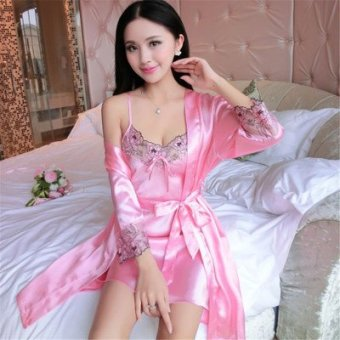 Harga Ms. ice silk sexy sleepwear thin summer silk pajamas contains silk thin section piece fitted long sleeve (Pink)