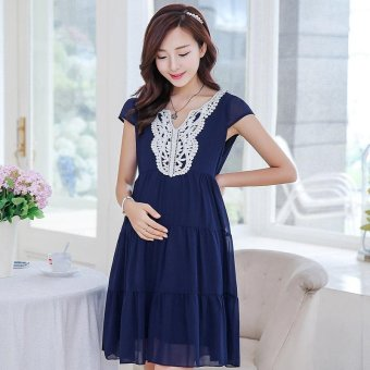 Harga Small Wow Maternity Korean V-neck Solid Color chiffon Above Knee Dress Dark Blue - intl