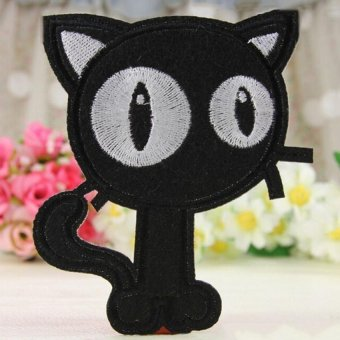 Harga 2Pcs Embroidery Cloth Iron On Patch Sew Motif Applique Black White Cats Black Cat - intl