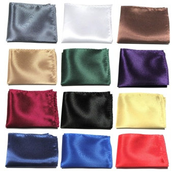 Harga 12 PCS Assorted Color Men Solid Color Pocket Squares Hanky Handkerchief Satin Texture Gentlemen Accessories for Wedding Banquets Performance - intl