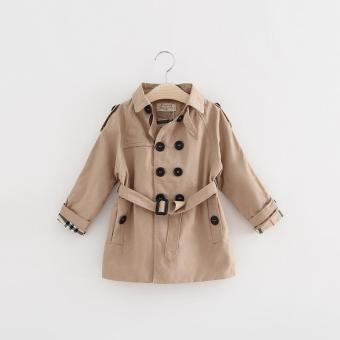 Spring Autumn Girls Double Breasted Long Trench Coat-Khaki - intl