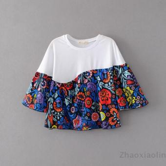 Harga T-shirt printing in europe and america loose stitching flowers coat