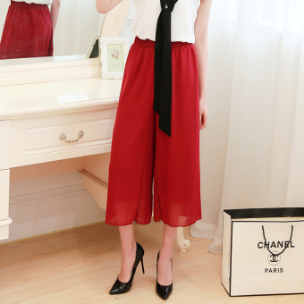 Spring and summer chiffon wide leg pants women pant korean waist was thin loose casual wide leg pants summer wide leg pants (Wine red)