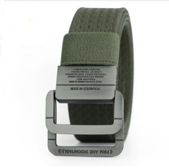 Harga Military Equipment Tactical Belt Man Double Ring Buckle Thicken Canvas Belts for Men Waistband - intl