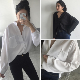 Harga Hitz temperament v-neck white shirt female shirt summer korean korean fan loose long sleeve shirt korean students (Black)