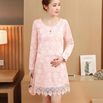 Harga Small Wow Maternity Korean Round Print Lace Loose Above Knee Dress Pink - intl