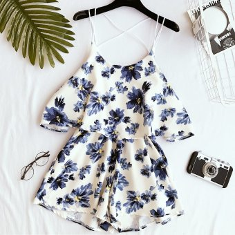 2017 summer korean fashion retro flower suspenders piece pants jumpsuit shorts was thin chiffon wide leg pants female (Blue and white flower)
