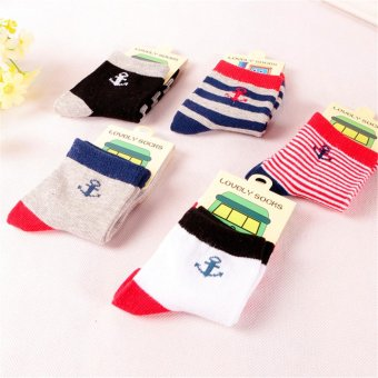 Harga 5 Pairs Casual Boys Socks 100% Cotton 2-5 Years Old Boy Kids Sock Fashion Anchor Striped Multi Color - intl