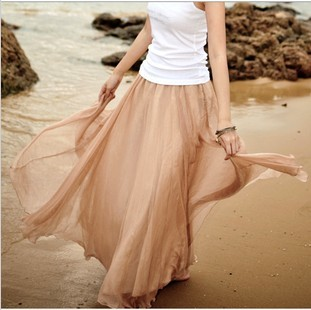 Harga 8 m big swing skirts mopping the new europe and america show thin summer chiffon bust skirt fairy skirt female skirt (Gold coffee color)