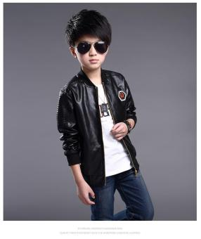 Harga Fashion Boys Kids Pu Leather Coat Children Boys Jacket in spring and autumn - intl