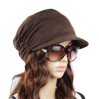 Harga Women's Fashion Drape Layers Slouch Beret Beanie Soft Brim Newsboy Hat Visor Cap,Coffee - intl