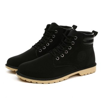 Harga Men Ankle Boots Fur Lined Winter Autumn Warm Shoelace Martin Boots Shoes - intl