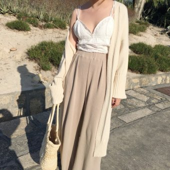 Beige knitted wide leg pants female summer 2017 new korean version of the student was thin high waist casual pants straight pants (Khaki)