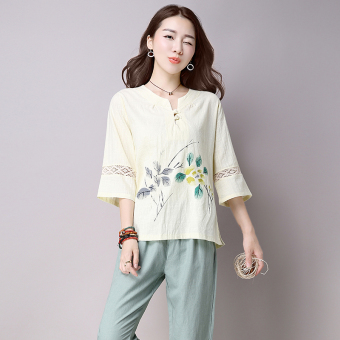 Harga Art retro print sleeve cotton t-shirt women's summer national wind loose big yards t-shirt blouse wild (Beige)