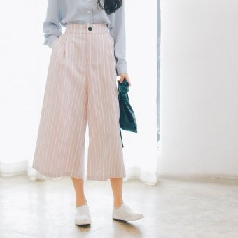 Summer new korean version of the fresh fashion high waist was thin stripes pantyhose female casual pants elastic waist wide leg pants (Pink)